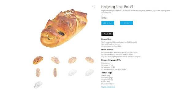 Ingyenesen letölthető 3D szkennelt ételek